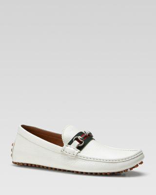 White Leather Horsebit Moc Toe Loafers