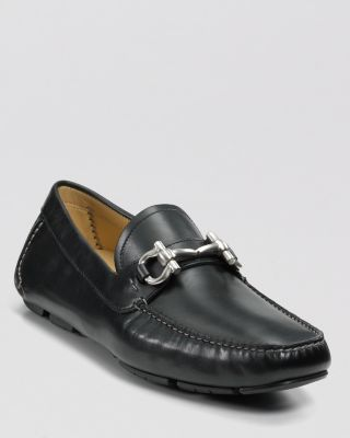 Men'S Parigi Double Gancini Bit Pebbled Leather Loafers in Black
