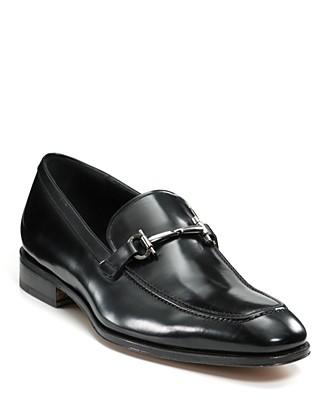 Black Calfskin 'Fenice' Gancini Detail Loafers'