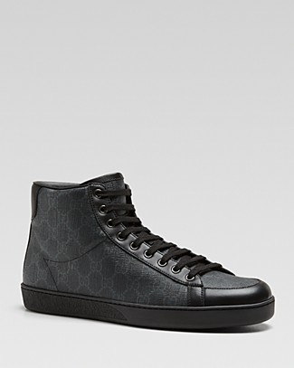 Men'S Common Canvas & Leather High-Top Sneakers, Black