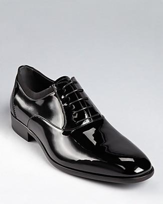 Men'S Belshaw Patent Lace-Up Balmoral Dress Shoe, Black