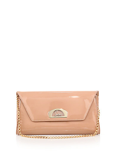 Vero Dodat Patent Leather Clutch - Beige in Apricot-Nude