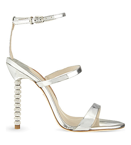 'Rosalind' Crystal Pavé Bead Heel Mirror Leather Sandals, Silver