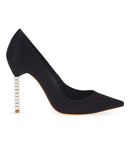 'Coco Crystal' Pavé Bead Heel Satin Pumps, Black