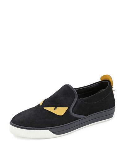 Monster Patches Suede Slip-On Sneakers, Black