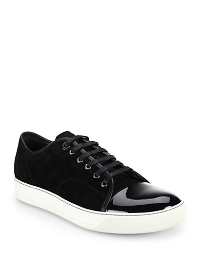 LANVIN Men'S Suede & Patent Leather Low-Top Sneakers, Navy, Black