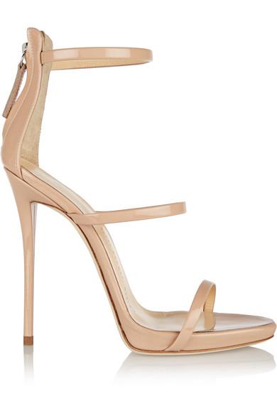Coline Patent Triple-Strap 110Mm Sandal, Nude