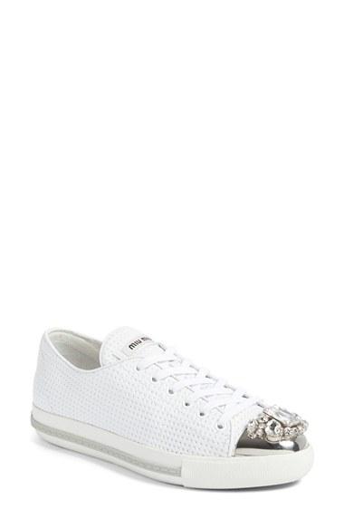 Miu Miu Jeweled Captoe Platform Sneakers MGuN2