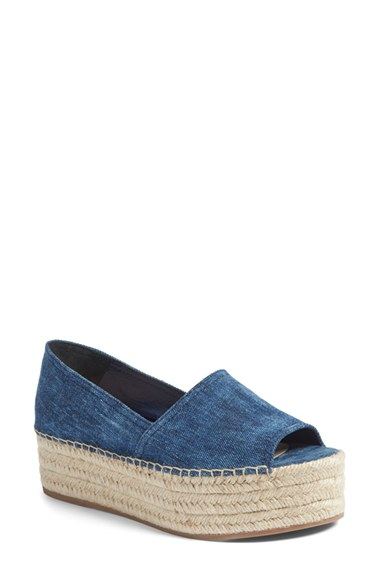 Miu Miu Denim Peep-Toe Wedges