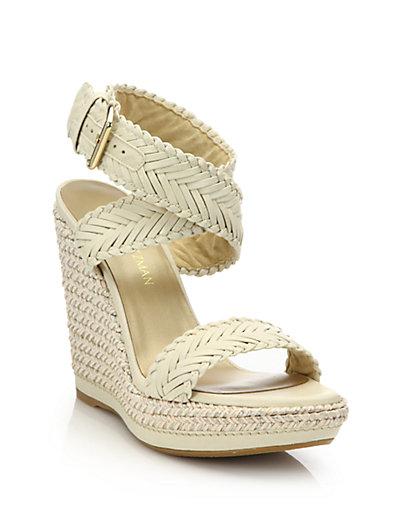 Stuart Weitzman Braided Leather Wedge Sandals Best Sale Sale Online Supply Sale Online Ys36WJ8eAh