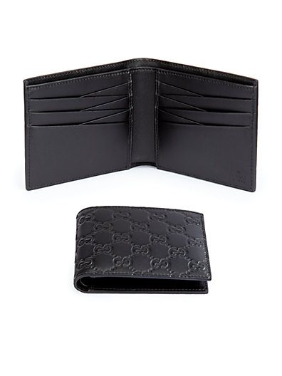 Embossed Gg Leather Bifold Wallet, Black
