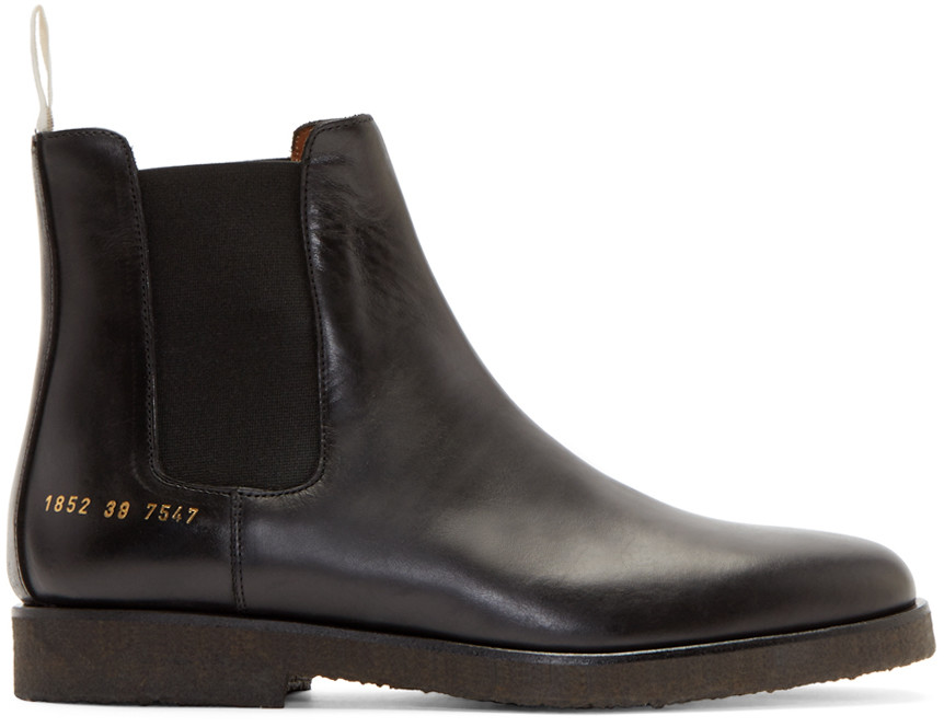 Cross-grain Leather Chelsea Boots - BlackCommon Projects g62z7O