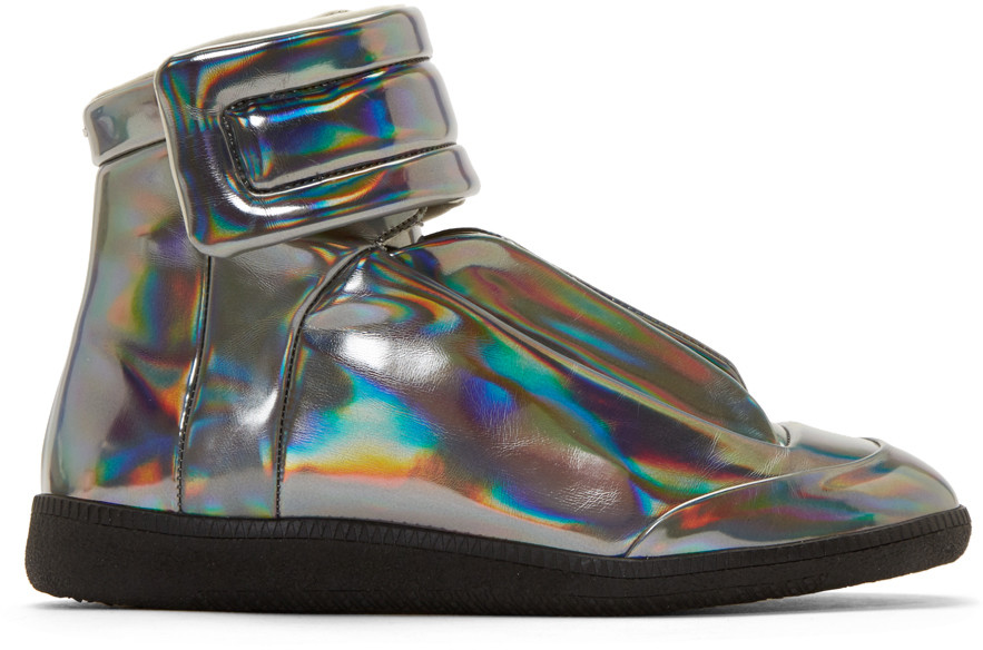 Maison Margiela Future Iridescent High Top Sneakers, Silver