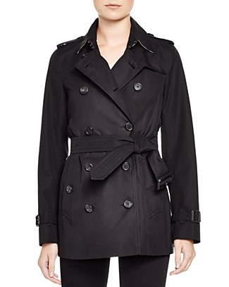 Black Cotton Twill 'Kensington' Short Trench Coat', Jet Black