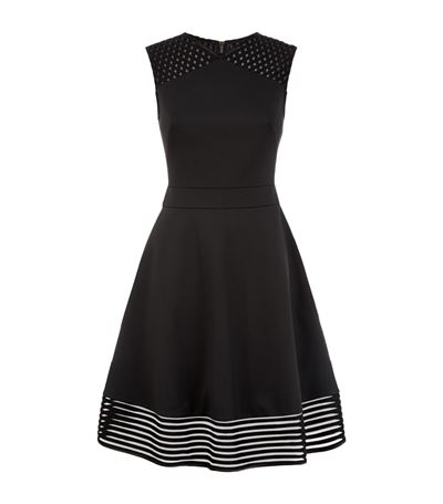 Ted Baker Zaralie Jacquard Panel Skater Dress In Black  c0bb325be
