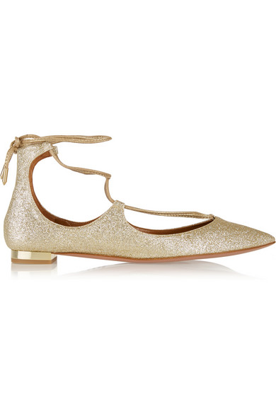 Woman Christy Glittered Leather Point-Toe Flats Gold, Light Gold