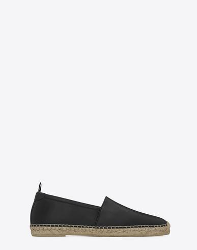 SAINT LAURENT Men'S Monogram Leather Espadrille, Black