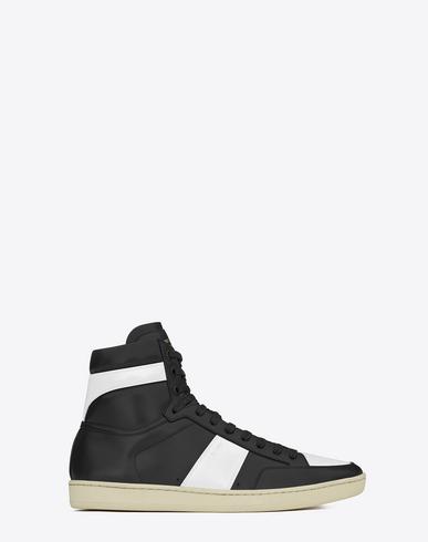 SAINT LAURENT Sl/10H Men'S Signature Court Classic Leather High-Top Sneakers, Black