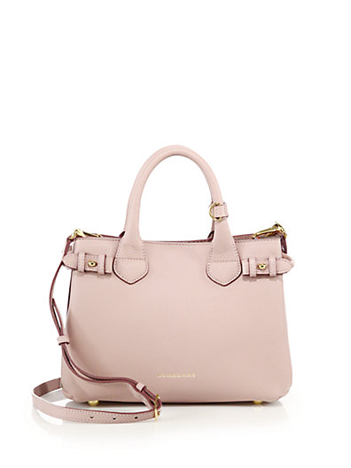 Banner Small Leather & House Check Canvas Satchel in Pink