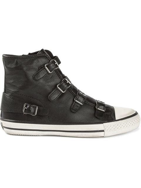 'Virgin' Buckle Leather High Top Sneakers in Grey