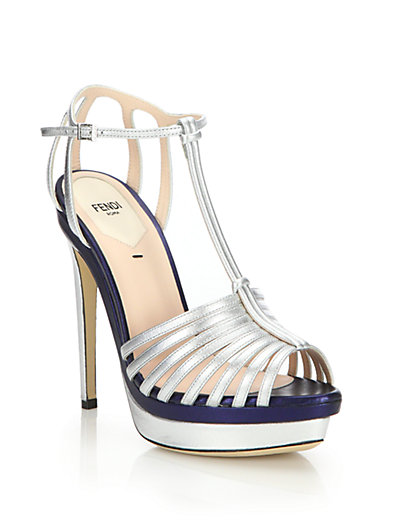 857804567f21 Fendi Silver Metallic Leather Strappy Platform Sandals
