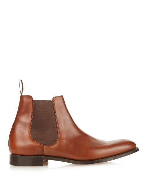 CHURCH'S Houston Walnut Leather Chelsea Boots, Dark Tan-Brown