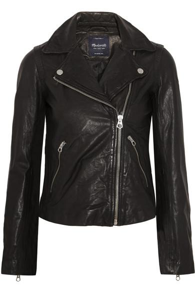 Washed Leather Motorcycle Jacket, True Black