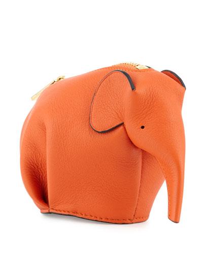 LOEWE Leather Elephant Coin Purse, Orange
