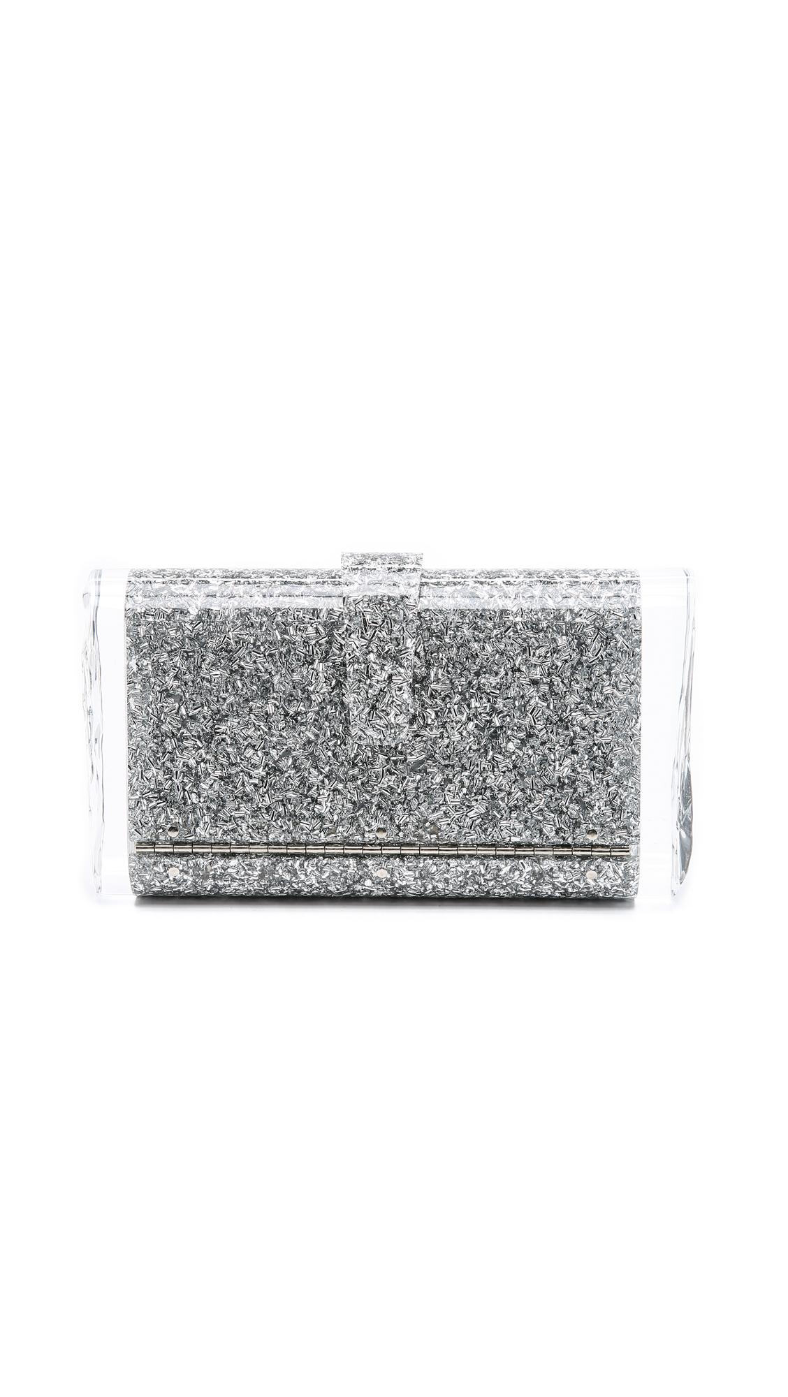 Lara Solid Clutch, Silver Confetti