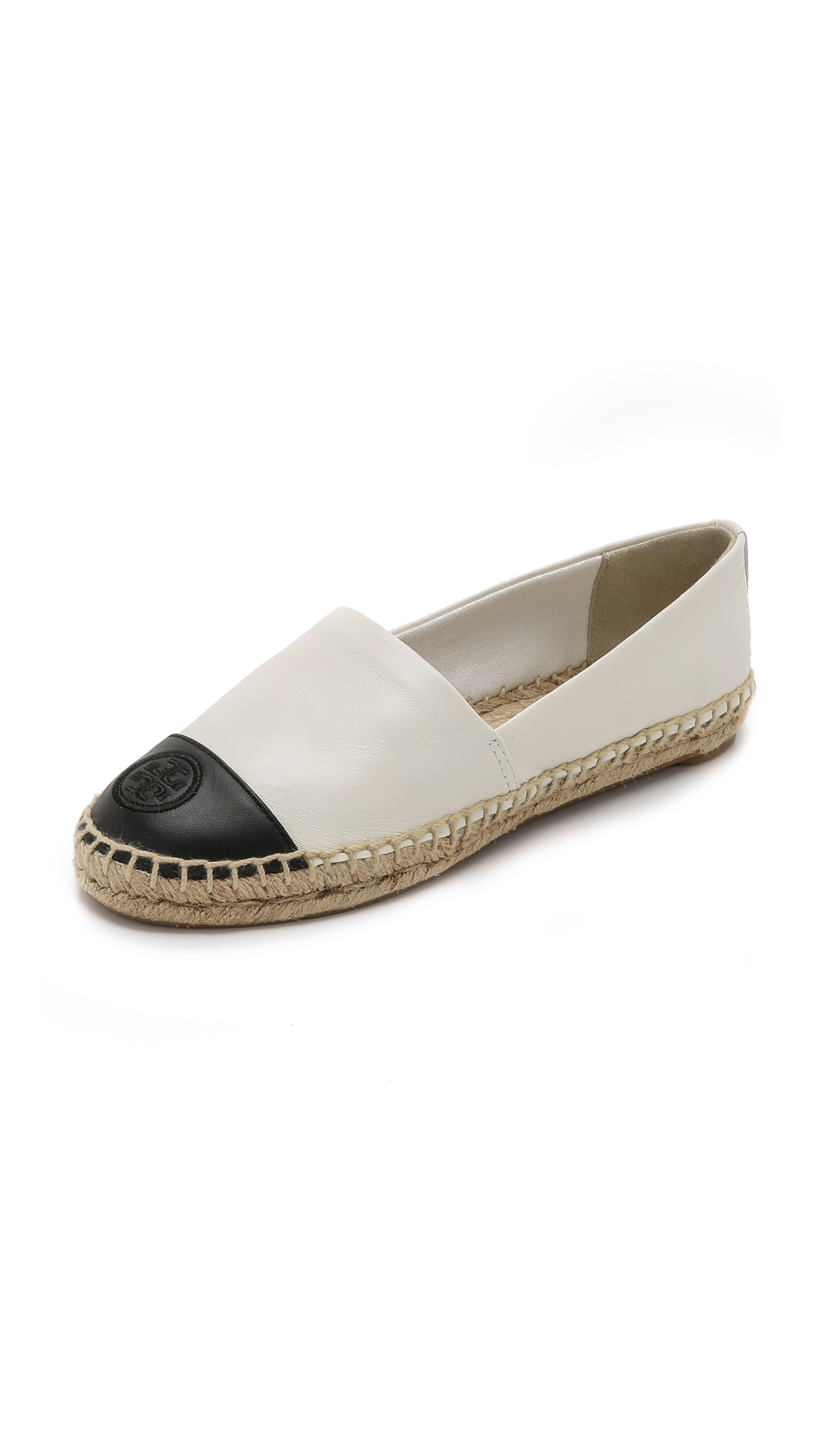 Colorblock Cap-Toe Espadrille Flat, Ivory/Black in White