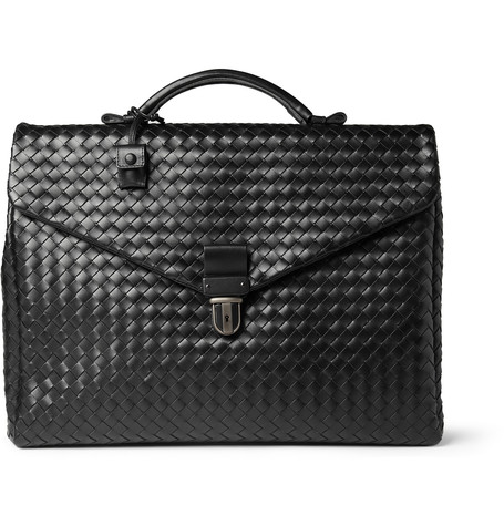 BOTTEGA VENETA Ebano Intrecciato Leather Briefcase in Black