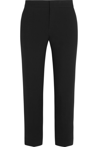 Rhinestine-Embellished Cady Trousers, Black