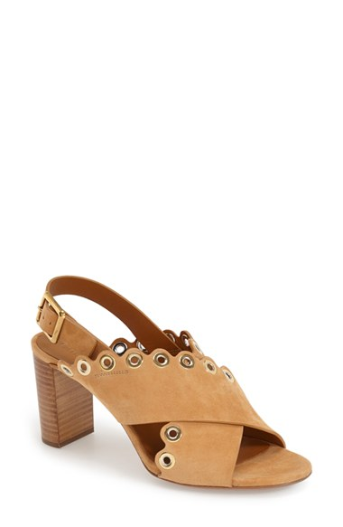 CHLOÉ Grommeted Scalloped Suede Crisscross Sandals in Angora Beige