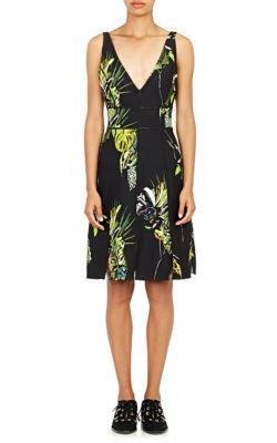 Sleeveless Floral-Print Sheath Dress, Black/Green/Chartreuse, Bk/Gr/Char Floral, Black Green & Chartreuse Floral Print