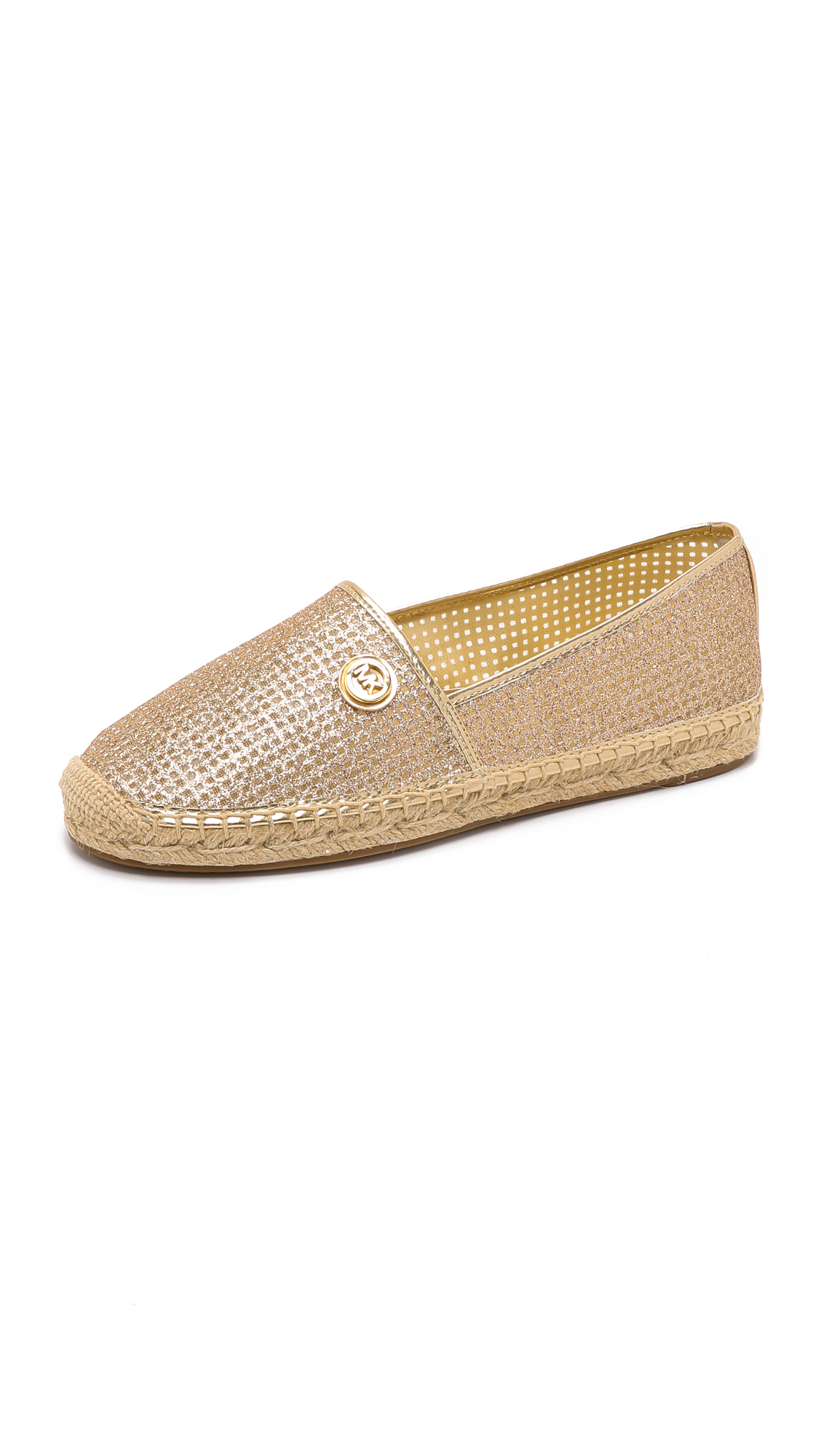 Kendrick Slip Ons In Gold Pixie Fine Perforated Leather, Pale Gold