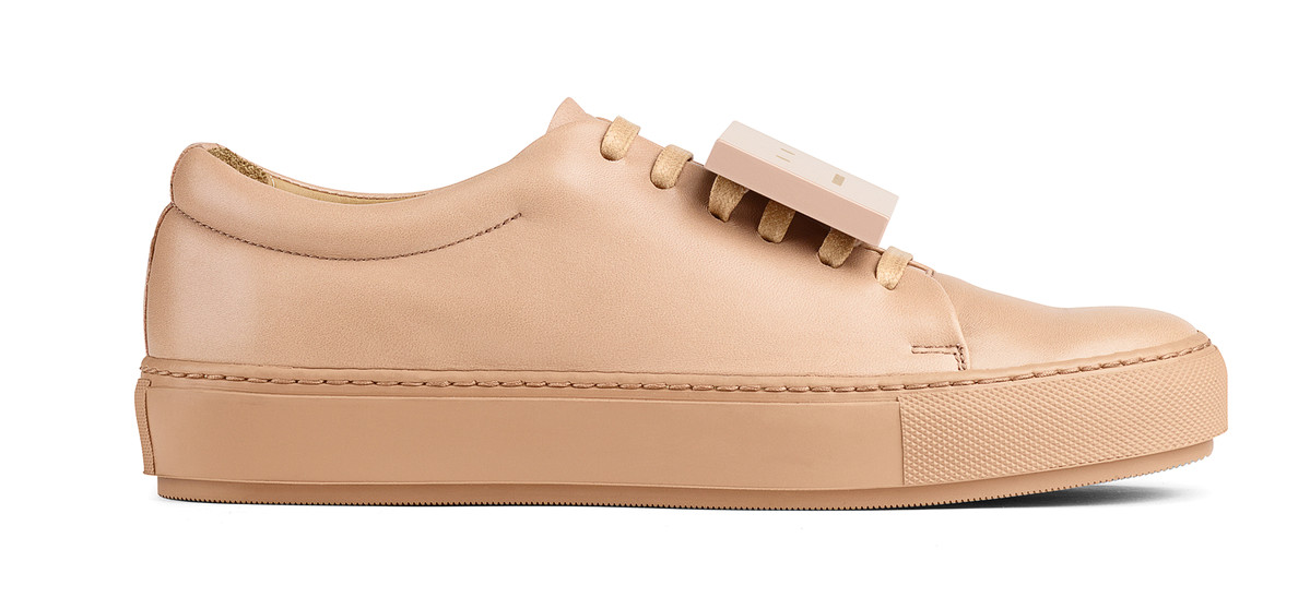 Adriana Turnup Leather Sneakers in Beige