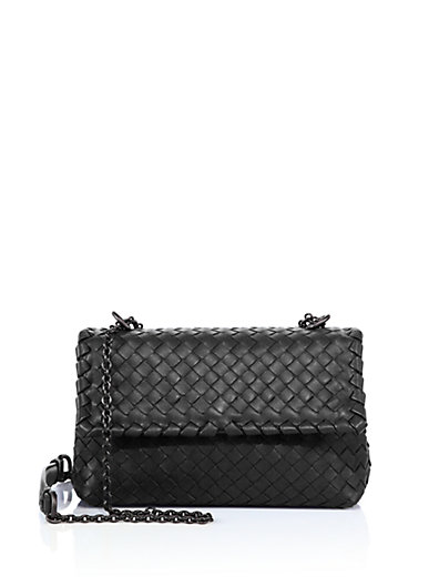 Small Olimpia Intrecciato Leather Chain Shoulder Bag, Black