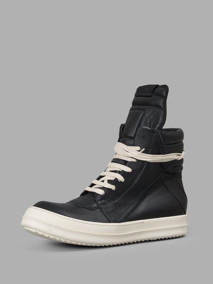 Rick Owens Geobasket Cuir Chaussures De Sport Salut-top - Noir x1hP0NC