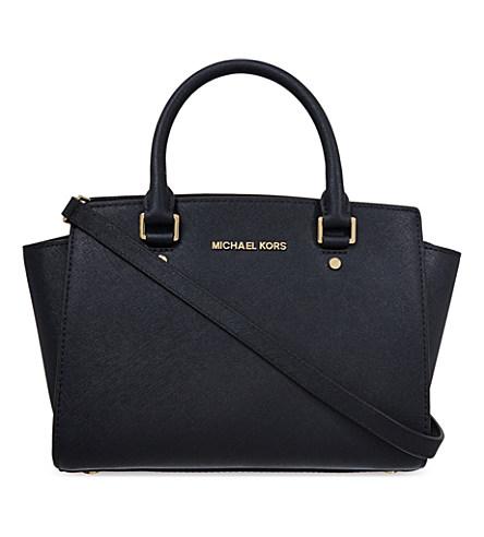 Selma Medium Saffiano Leather Satchel, Black