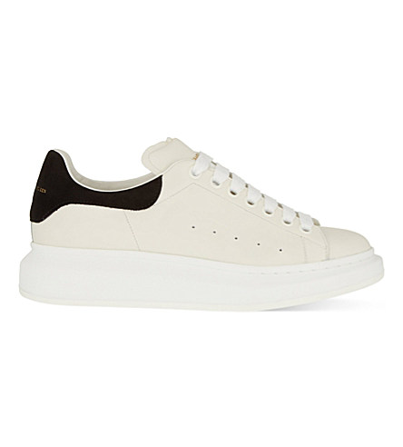Leather Lace-Up Platform Sneakers, White/Blk