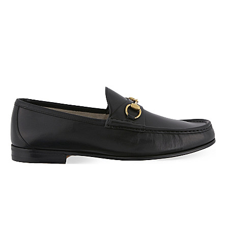 Easy Roos Horsebit Collapsible-Heel Leather Loafers, Black