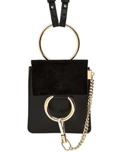 Faye Bracelet Mini Leather And Suede Shoulder Bag, Black