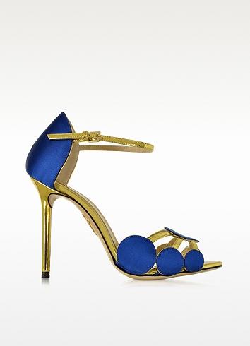 CHARLOTTE OLYMPIA Cobalt Blue Satin Silk And Leather Contemporary Sandal in Silk%20Satin%2Fmetallic%20Calfskin_413_Cobalt%20Blue