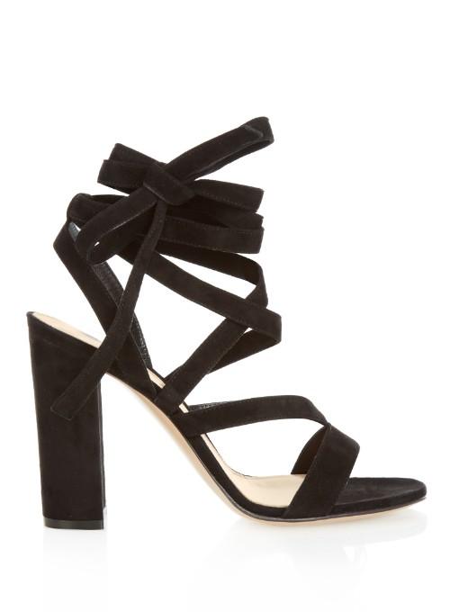 Denim Lace-Up Gladiator Sandals, Black