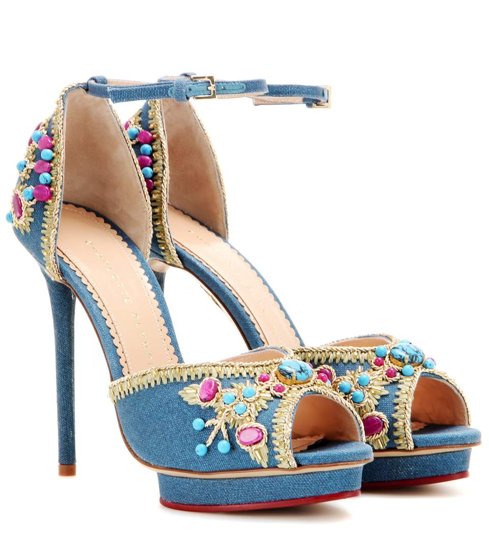 CHARLOTTE OLYMPIA Savannah Embellished Denim Sandals in Cotton_399_Dark%20Denim