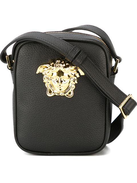 versace black small medusa messenger bag in black gold. Black Bedroom Furniture Sets. Home Design Ideas