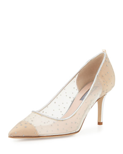 SJP BY SARAH JESSICA PARKER Glass Material Point Toe Leather Pumps in Ivey Raindrops Material