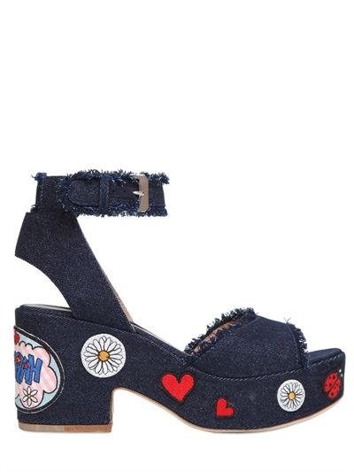 Happoline Pop Denim Platform Sandals, Blue