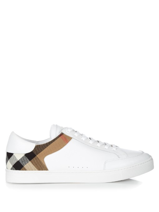 Rubberised-leather, Suede And Checked Canvas Sneakers - WhiteBurberry