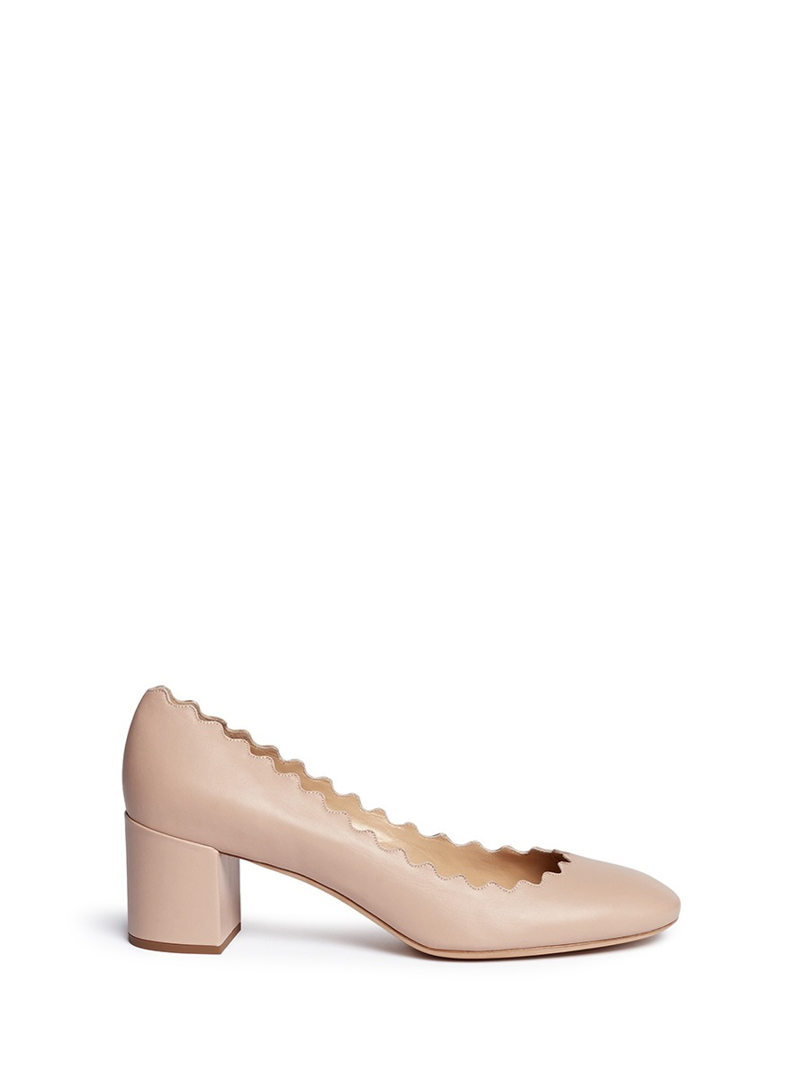 Chloé Lauren scalloped-edge leather pumps Clearance Low Cost Discount With Mastercard Outlet Pay With Paypal Cheap Sale Wide Range Of p9aMTj